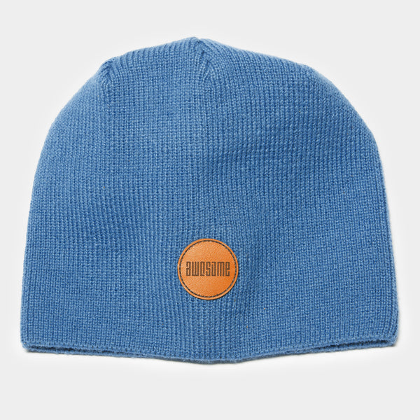 Awesome Beanie Leather Patch - Navy