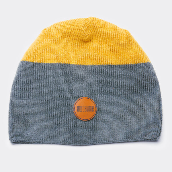 Awesome Beanie Leather Patch - Grey / Yellow
