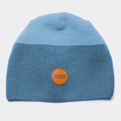 Awesome Beanie Leather Patch - Navy / Light Blue