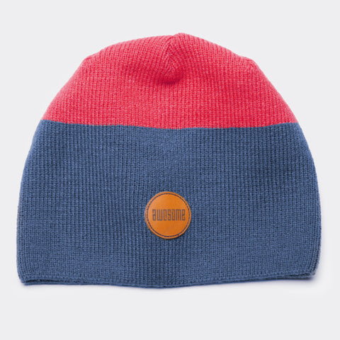 Awesome Beanie Leather Patch - Navy / Red