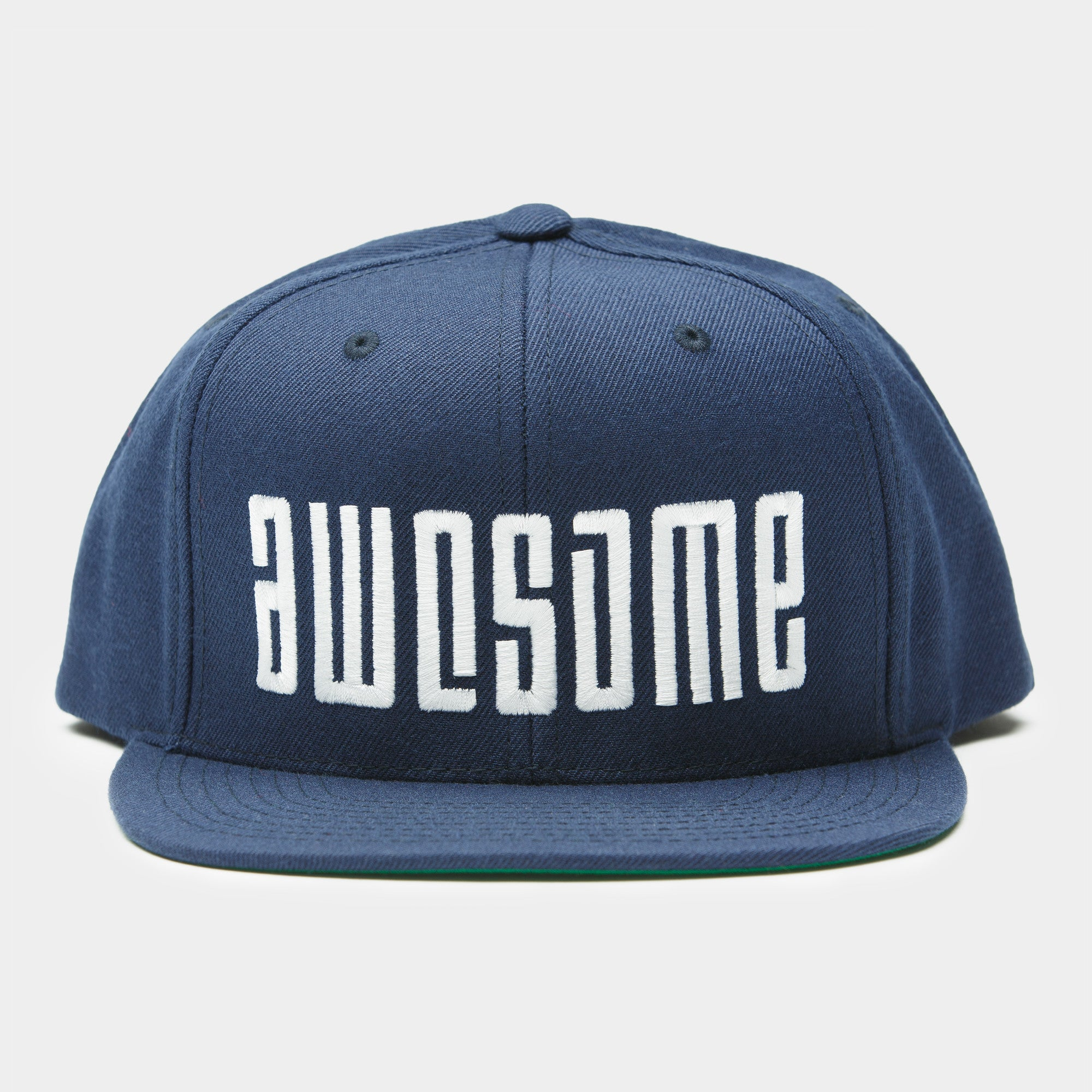Logo Embroidery Snapback Cap White Blue Awesome Surfboards