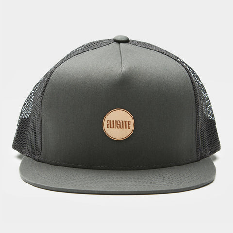 Trucker Cap Leather Patch - Charcoal