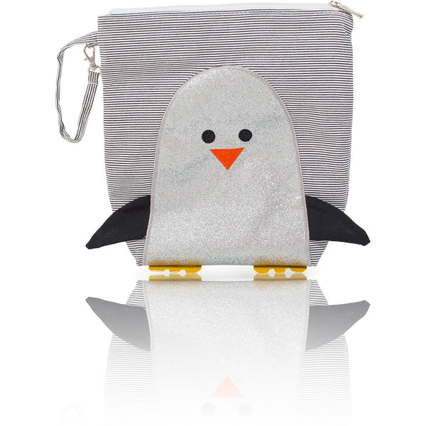 "Forever Young Convertible Mommy Bag Set - Glitter Silver Penguin ""Chili"""