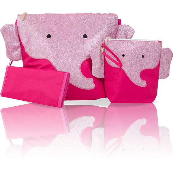 "Forever Young Convertible Mommy Bag Set - Glitter Pink Elephant ""Ellie"""