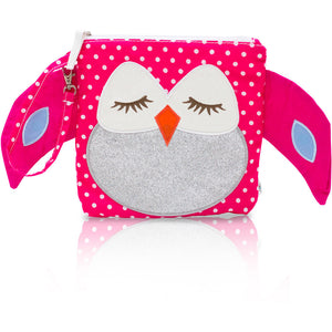 "My First Buddy Snack Bag - Glitter Silver Pink Owl ""Stella"""