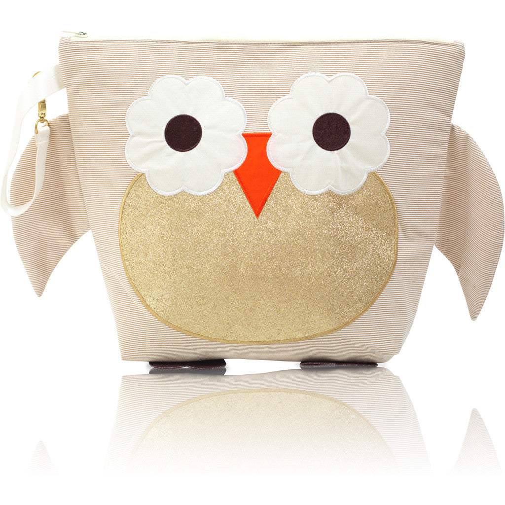 "Forever Young Wet + Dry Backpack (Small)- Glitter Gold Owl ""Bella"""