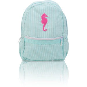 Seersucker Backpack: Seaside Collection - Aqua/Seahorse