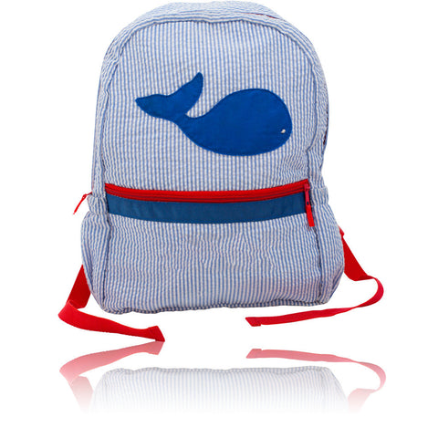 Seersucker Backpack: Seaside Collection - Blue/Whale