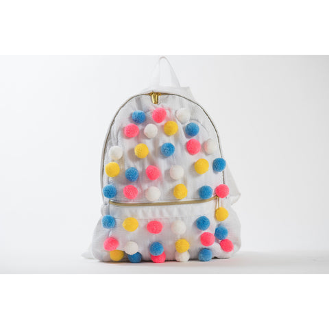 Seersucker Pom Pom Backpack