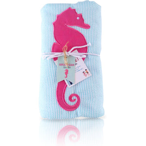 Seersucker Seaside Collection: Towel-Ket - Aqua/Seahorse