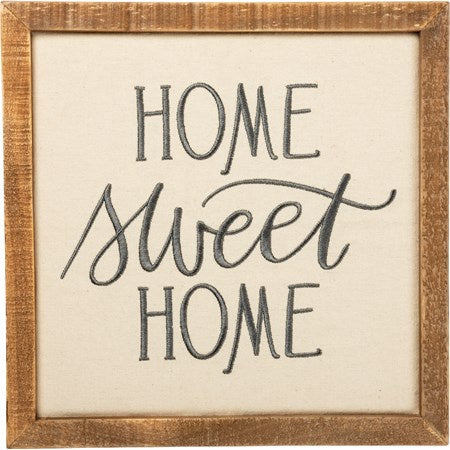 home sweet home sign stitched