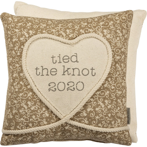 tied the  knot in 2020 pillow