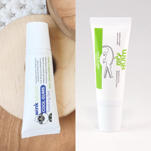 Wink Naturals Teething Gel Then and Now