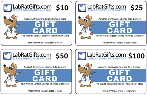 Lab Rat Gifts- Science Gifts- Gift Cards in Many Denominations available.