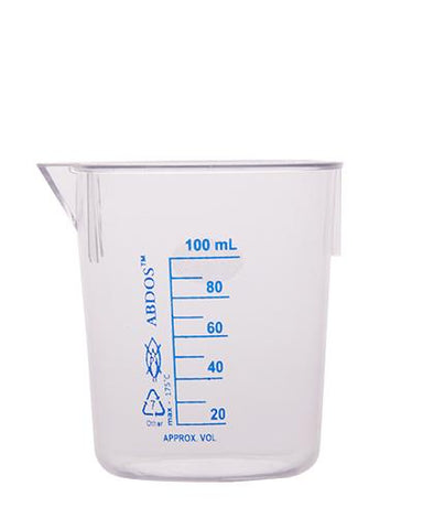 Abdos Printed Beakers without Handle, TPX Polymethyl pentene (PMP) 100ml, 12/CS
