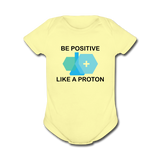 """Be Positive"" (black) - Baby Short Sleeve One Piece lemon / Newborn - LabRatGifts - 3"