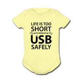 """Life is too Short"" (black) - Baby Short Sleeve One Piece lemon / Newborn - LabRatGifts - 3"