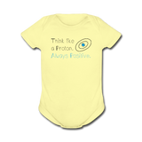 """Think like a Proton"" (black) - Baby Short Sleeve One Piece lemon / Newborn - LabRatGifts - 3"