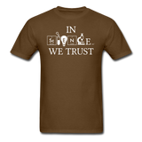 """In Science We Trust"" (white) - Men's T-Shirt brown / S - LabRatGifts - 6"
