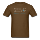 """Think like a Proton"" (white) - Men's T-Shirt brown / S - LabRatGifts - 6"