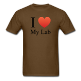 """I ♥ My Lab"" (black) - Men's T-Shirt brown / S - LabRatGifts - 11"
