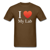 """I ♥ My Lab"" (white) - Men's T-Shirt brown / S - LabRatGifts - 6"