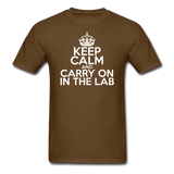 """Keep Calm and Carry On in the Lab"" (white) - Men's T-Shirt brown / S - LabRatGifts - 10"