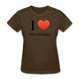 """I ♥ Microbiology"" (black) - Women's T-Shirt brown / S - LabRatGifts - 10"