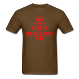 """Keep Calm and Research On"" (red) - Men's T-Shirt brown / S - LabRatGifts - 9"