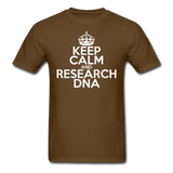 """Keep Calm and Research DNA"" (white) - Men's T-Shirt brown / S - LabRatGifts - 10"