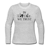 """In Science We Trust"" (black) - Women's Long Sleeve T-Shirt gray / S - LabRatGifts - 2"