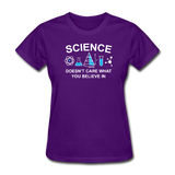 """Science Doesn't Care"" - Women's T-Shirt purple / S - LabRatGifts - 3"