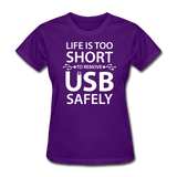 """Life is too Short"" (white) - Women's T-Shirt purple / S - LabRatGifts - 3"