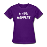 """E. Coli Happens"" (white) - Women's T-Shirt purple / S - LabRatGifts - 3"