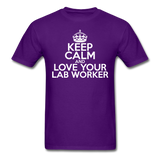 """Keep Calm and Love Your Lab Worker"" (white) - Men's T-Shirt purple / S - LabRatGifts - 9"