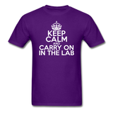 """Keep Calm and Carry On in the Lab"" (white) - Men's T-Shirt purple / S - LabRatGifts - 9"