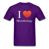 """I ♥ Microbiology"" (white) - Men's T-Shirt purple / S - LabRatGifts - 5"