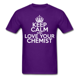 """Keep Calm and Love Your Chemist"" (white) - Men's T-Shirt purple / S - LabRatGifts - 9"