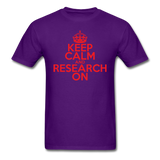 """Keep Calm and Research On"" (red) - Men's T-Shirt purple / S - LabRatGifts - 12"