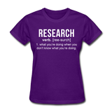 """Research"" (white) - Women's T-Shirt purple / S - LabRatGifts - 5"