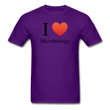 """I ♥ Microbiology"" (black) - Men's T-Shirt purple / S - LabRatGifts - 11"