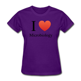 """I ♥ Microbiology"" (black) - Women's T-Shirt purple / S - LabRatGifts - 9"