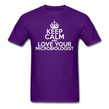 """Keep Calm and Love Your Microbiologist"" (white) - Men's T-Shirt purple / S - LabRatGifts - 9"