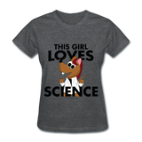 """This Girl Loves Science"" (red) - Women's T-Shirt deep heather / S - LabRatGifts - 3"