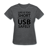 """Life is too Short"" (black) - Women's T-Shirt deep heather / S - LabRatGifts - 7"
