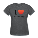 """I ♥ Microbiology"" (black) - Women's T-Shirt deep heather / S - LabRatGifts - 3"