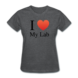 """I ♥ My Lab"" (black) - Women's T-Shirt deep heather / S - LabRatGifts - 3"