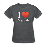 """I ♥ My Lab"" (white) - Women's T-Shirt deep heather / S - LabRatGifts - 8"