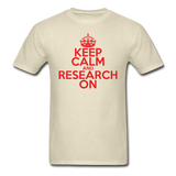 """Keep Calm and Research On"" (red) - Men's T-Shirt khaki / S - LabRatGifts - 4"
