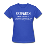"""Research"" (white) - Women's T-Shirt royal blue / S - LabRatGifts - 9"